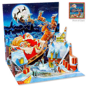 3D Pop Up Greeting Card from Up With Paper - SANTA'S SLEIGH RIDE - UP-WP-X-180