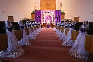 Purple Wedding decorations, Chair Bows, Pew Bows, Satin, Church Aisle Decor.