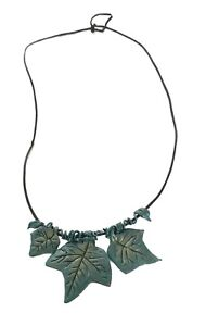 Ivy Leaves & Vines  Necklace Polymer Clay Artist-made Dark Green Leather cord