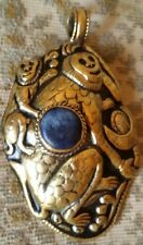 Nepalese Large Brass Monkey with Baby Lapis Pendant