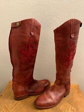 FRYE Lindsay Logo Embroidered Riding  Leather Boots Burgundy Size 8.5