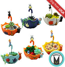 US Cute Totoro Terrarium Jiji black cat Planter Plant Habitat Vase Umbrella Pot