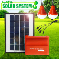 Portable Solar Panel Generator System Electric +2xUSB Light Bulb Charger Camping