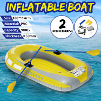 1.9M PVC 2 Person Rubber Inflatable Boat Fishing Kayak Dinghy W/Oars Pump Ropes
