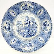 Vintage Burleigh Ringtons Tranquil Garden Blue White Dinner Plate