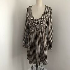 BCBG Dress Brown White Polka Dots Long Sleeve V Neck Elastic Waist L