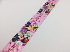 "1y Mickey Minnie Mouse 7/8"" 22mm Grosgrain Ribbon, Cake Craft Bows Disney #005"