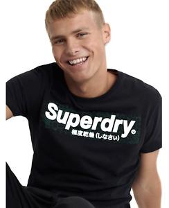Superdry Mens Black Camouflage Panel Logo Tee Crew Neck Cotton T-Shirt Top