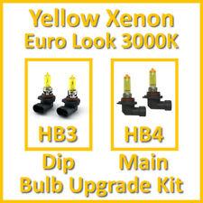 Warm White 3000K Yellow Xenon Headlight Bulb Set Main Dip Fog HB3 HB4 Kit