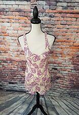 Tucker Sleeveless Beige Purple Abstract Theme SILK Casual Mini Sheath Dress M
