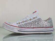 Converse all star OX Bianco glitter argento artigianali