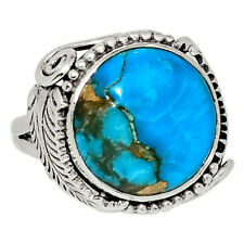 Native American - Copper Blue Turquoise 925 Silver Ring Jewelry s.6.5 33559R