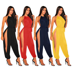 Women SolidColor High Side Slit Halter Sleeveless Casual ClubParty Long Jumpsuit
