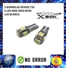 2 UNIDADES BOMBILLAS T10 CANBUS 5 LED SMD 5050 W5W T-10 XENON LUZBLANCA NO ERROR