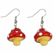 Cute Funky Red Toadstool Resin Drop Earrings - Kitsch Joe Cool Magic Mushroom