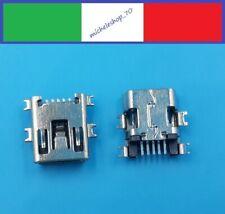 connettore a saldare mini USB femmina 4 fissaggi orizzontali 5pin 180° ribassato