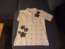 Luxus Polo Shirt Nice Connection weiß mit schwarzen Details Gr. 38 NEU NP 99 €