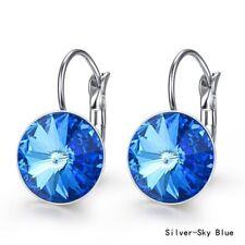 Dangle Drop Earring Halloween Jewelry Exquisite Silver Round Blue Zircon