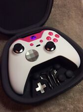 Elite Xbox One 1 Controller -Custom WHITE SHELL,PINK Led, Buttons, ABXY Letters