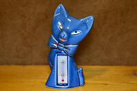 Mid Century Ceramic Cat Thermometer, Blue Cat with Bow, Vintage, MCM, Adorable