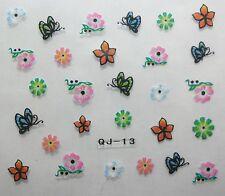 Accessoire ongles :nail art -Stickers autocollants,fleur et papillon multicolore