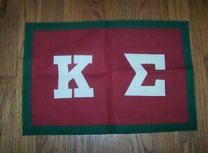 "VINTAGE Kappa Sigma fraternity felt sewn-letter banner, 17 1/4"" x 11 1/2"" OLD"
