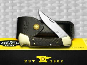 Buck 110 Folding Hunter Knife Basketweave Ebony Wood 1/400 420HC Stainless