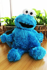 sesame street cookie monster plush backpack cute fuzzy bag new
