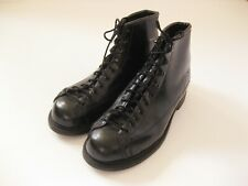 Vintage Black Leather STEEL TOE motorcycle work boots combat 8.5 9 lace to toe