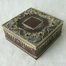 Square Jewelry Box Amber with Gold Stones