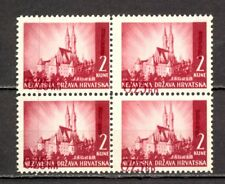 CROATIA (NDH) WWII - Mi.No. 82 BLOCK OF 4 WITH VERY EFFECT OVERPRINT SHIFT. TWO