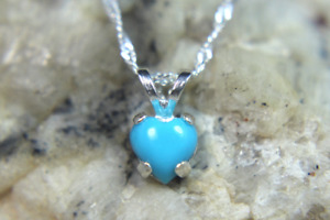 TURQUOISE - Genuine Sleeping Beauty 925 Sterling Silver Solitaire Heart Necklace