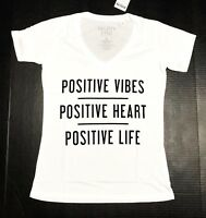 Positive Vibes Heart & Life - Woman's X-Small White V Neck T-Shirt