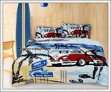 Retro Summer Beach Surf Tree Van * DOUBLE QUILT DOONA COVER + 2 PILLOW CASES