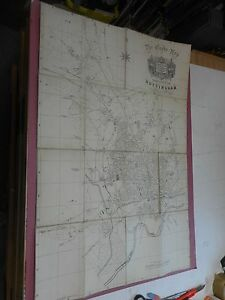 100% ORIGINAL CITY OF NOTTINGHAM FOLDING MAP ON LINEN BY STEVENSON C1905 VGC