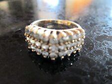 Vintage 10K Gold Ladies Ring 27 CZ Stones Crown Hallmark Size 7.5 1ct tw