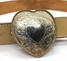 Montana Silversmith GERMAN SILVER Heart Shape TWO Tone Belt Buckle W/ Belt