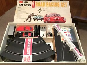 Strombecker, sears 6 in 1 competition 1/32 vintage slot car set ferrari jaguar