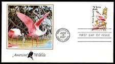 Vögel. Rosalöffler. FDC. USA 1987