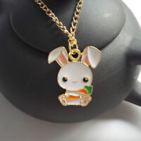 Cute 1 Piece Rabbit Carrot Cartoon Gift Fashion Jewelry Enamel Necklace Pendant