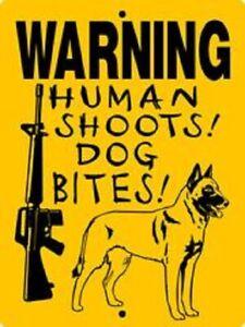 Warning Belgian malinois aluminum dog sign  9 x 12