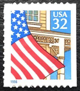 "1996 Scott #2920D, 32¢, FLAG OVER PORCH - Booklet Single Blue ""1996"" - Mint NH"