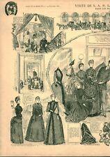 Gravure ancienne 1885 visite de la S A R la princesse de Galles issue du livre