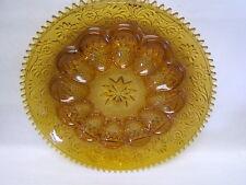 """Vintage Indiana Glassware Deviled Egg 12"""" Plate Amber VGC"""