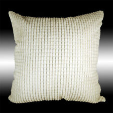 Simple Cream Soft Velvet Checked Decorative Throw Pillow Case Cushion Cover 17""
