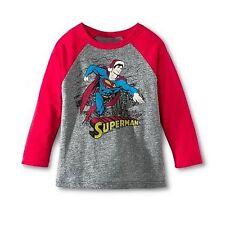 DC Comics Superman Santa Toddler Boys Raglan Holiday Christmas T-Shirt - Size 4T