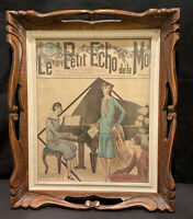 ORIGINAL ART DECO VINTAGE WOOD PHOTO PICTURE FRAME GLASS RETRO WELL CARVED TRAY