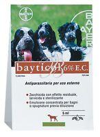 BAYTICOL 6% E.C. BAYER 5 ML ANTIPARASSITARIO PER CANI EMULSIONE BAGNO