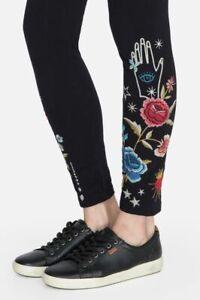 Johnny Was Black MARIS LEGGING BLACK Leggings Cotton Flowers Embroidery L NEW
