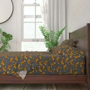 Fox Geometric Woodland Creature Animal 100% Cotton Sateen Sheet Set by Roostery